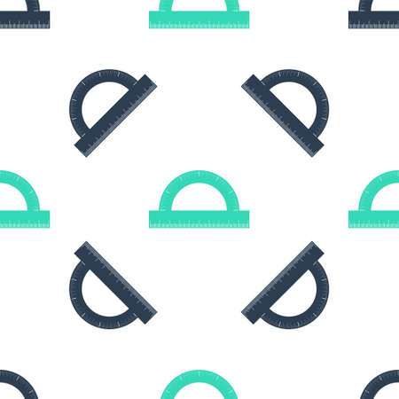 Green Protractor grid for measuring degrees icon isolated seamless pattern on white background. Tilt angle meter. Measuring tool. Geometric symbol. Vector