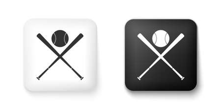 Black and white Crossed baseball bats and ball icon isolated on white background. Square button. Vector