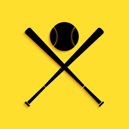 Black Crossed baseball bats and ball icon isolated on yellow background. Long shadow style. Vector Illusztráció