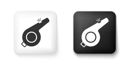 Black and white Whistle icon isolated on white background. Referee symbol. Fitness and sport sign. Square button. Vector