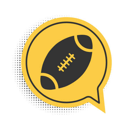 Black American Football ball icon isolated on white background. Yellow speech bubble symbol. Vector Ilustracja
