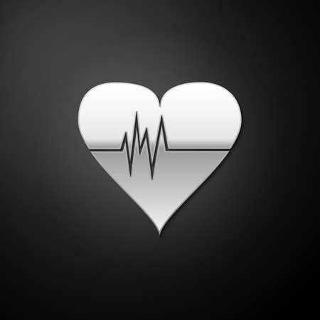 Silver Heart rate icon isolated on black background. Heartbeat sign. Heart pulse icon. Cardiogram icon. Long shadow style. Vector