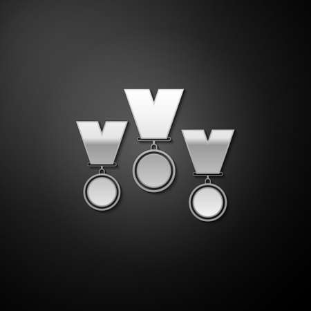 Silver Medal set icon isolated on black background. Winner simbol. Long shadow style. Vector