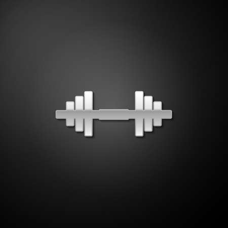 Silver Dumbbell icon isolated on black background. Muscle lifting icon, fitness barbell, gym icon, sports equipment symbol, exercise bumbbell. Long shadow style. Vector