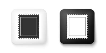 Black and white Postal stamp icon isolated on white background. Square button. Vector