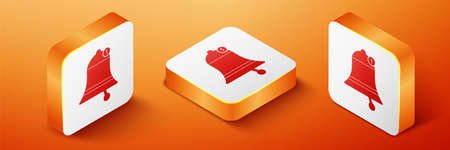 Isometric Bell icon isolated on orange background. New Notification icon. New message icon. Orange square button. Vector