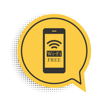 Black Smartphone with free wifi wireless connection icon isolated on white background. Wireless technology, wireless network, hotspot concept. Yellow speech bubble symbol. Vector