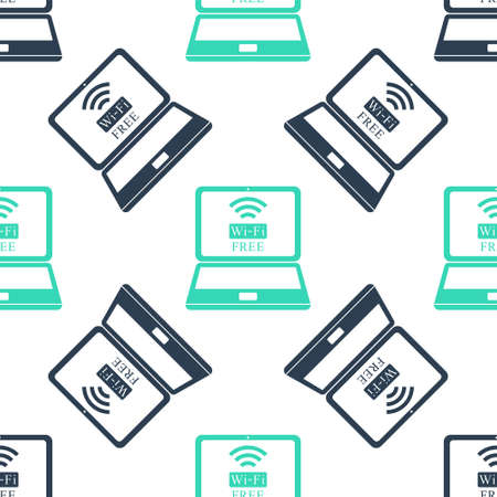 Green Laptop and free wifi wireless connection icon isolated seamless pattern on white background. Wireless technology, wifi connection, network, hotspot concepts. Vector 向量圖像