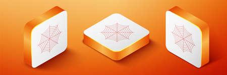 Isometric Spider web icon isolated on orange background. Cobweb sign. Orange square button. Vector