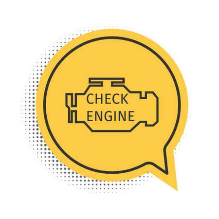 Black Check engine icon isolated on white background. Yellow speech bubble symbol. Vector