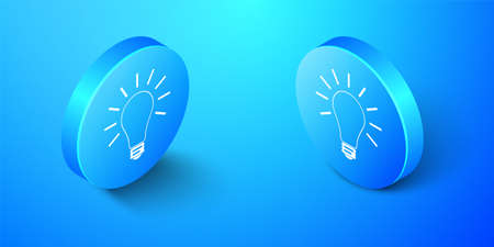 Isometric Light bulb with rays shine icon isolated on blue background. Energy and idea symbol. Lamp electric. Blue circle button. Vector Vettoriali