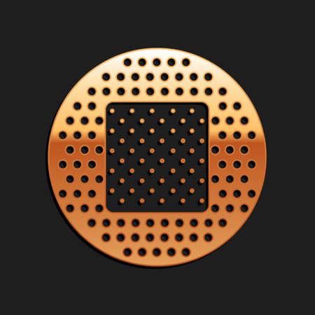 Gold Bandage plaster icon isolated on black background. Medical plaster, adhesive bandage, flexible fabric bandage. Long shadow style. Vector