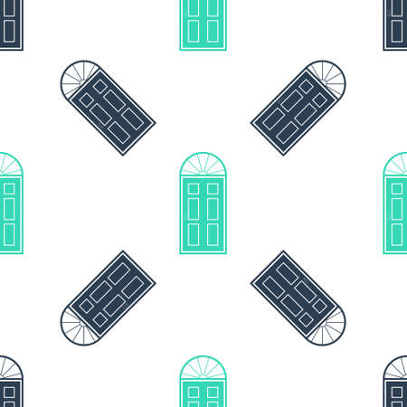 Green Closed door icon isolated seamless pattern on white background. Vector