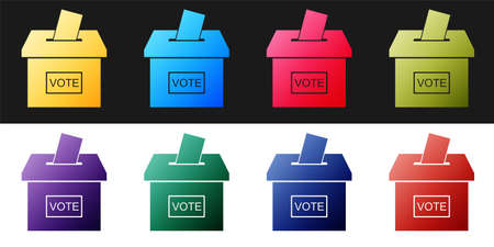 Set Vote box or ballot box with envelope icon isolated on black and white background. Vector