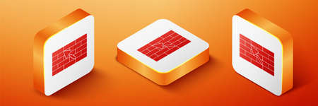 Isometric Brick wall with trowel icon isolated on orange background. Orange square button. Vector