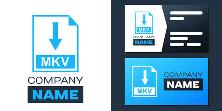 Logotype MKV file document icon. Download MKV button icon isolated on white background. Logo design template element. Vector