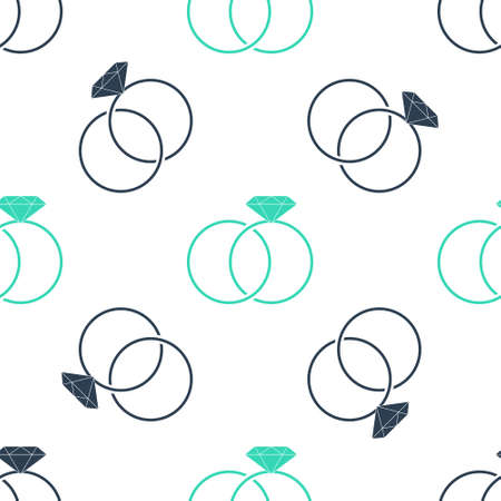 Green Wedding rings icon isolated seamless pattern on white background. Bride and groom jewelery sign. Marriage icon. Diamond ring icon. Vector