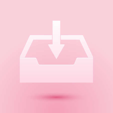 Paper cut Download inbox icon isolated on pink background. Paper art style. Vector