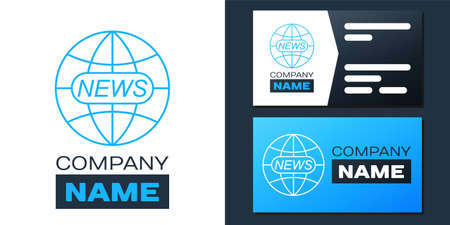 Logotype World and global news concept icon isolated on white background. World globe symbol. News sign icon. Journalism theme, live news. Logo design template element. Vector 向量圖像