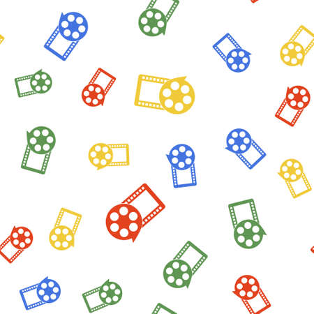 Color Film reel and play video movie film icon isolated seamless pattern on white background. Vector 向量圖像