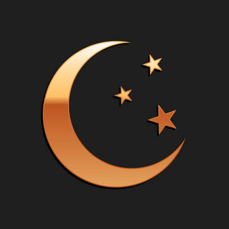 Gold Moon and stars icon isolated on black background. Long shadow style. Vector