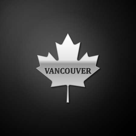 Silver Canadian maple leaf with city name Vancouver icon isolated on black background. Long shadow style. Vector