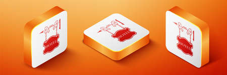 Isometric Vintage signboard outdoor advertising with text Hotel icon isolated on orange background. Orange square button. Vector