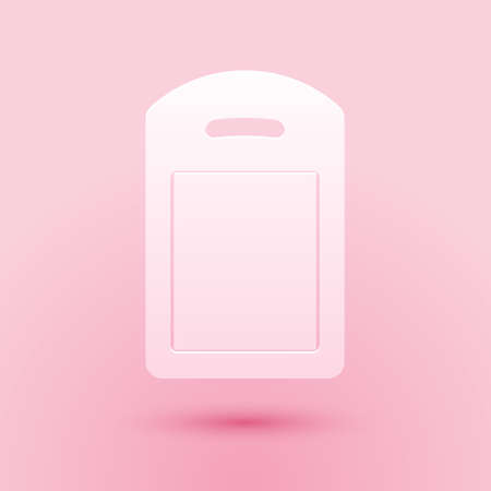 Paper cut Cutting board icon isolated on pink background. Chopping Board symbol. Paper art style. Vector