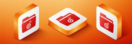 Isometric Folder settings with gears icon isolated on orange background. Concept of software update, transfer protocol, router, teamwork tool management. Orange square button. Vector 向量圖像