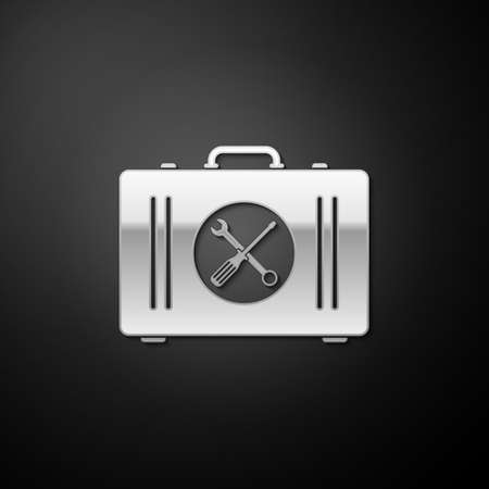 Silver Toolbox icon isolated on black background. Tool box sign. Long shadow style. Vector