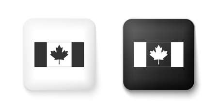 Black and white Canada flag icon isolated on white background. Square button. Vector