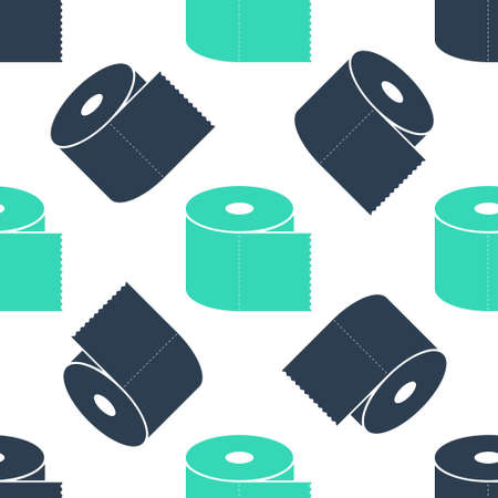 Green Toilet paper roll icon isolated seamless pattern on white background. Vector 向量圖像