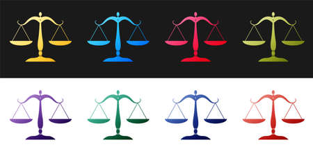 Set Scales of justice icon isolated on black and white background. Court of law symbol. Balance scale sign. Vector