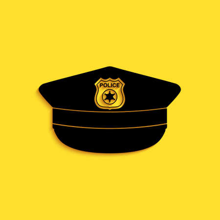 Black Police cap with cockade icon isolated on yellow background. Police hat sign. Long shadow style. Vector