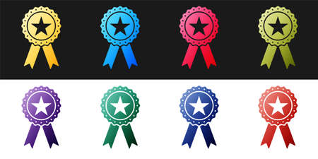 Set Award medal with star and ribbon icon isolated on black and white background. Winner achievement sign. Champion medal emblem. Success symbol. Vector