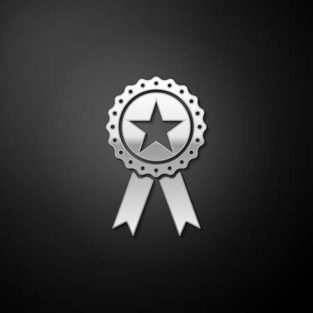 Silver Award medal with star and ribbon icon isolated on black background. Winner achievement sign. Champion medal emblem. Success symbol. Long shadow style. Vector 向量圖像
