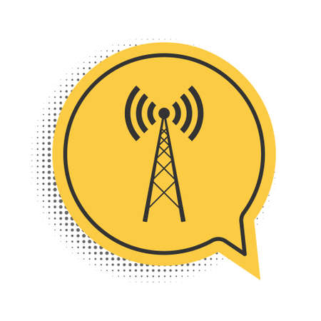 Black Antenna icon isolated on white background. Radio antenna wireless. Technology and network signal radio antenna. Yellow speech bubble symbol. Vector