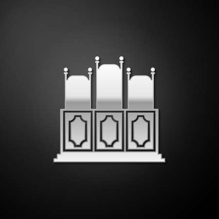 Silver Courts room with table icon isolated on black background. Chairs icon. Long shadow style. Vector