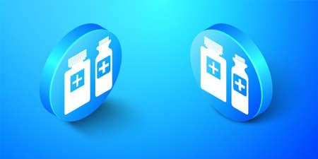 Isometric Medicine bottle icon isolated on blue background. Bottle pill sign. Pharmacy design. Blue circle button. Vector 向量圖像