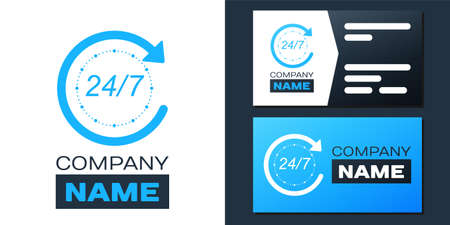 Logotype Open 24 hours a day and 7 days a week icon isolated on white background. All day cyclic icon. Logo design template element. Vector 向量圖像