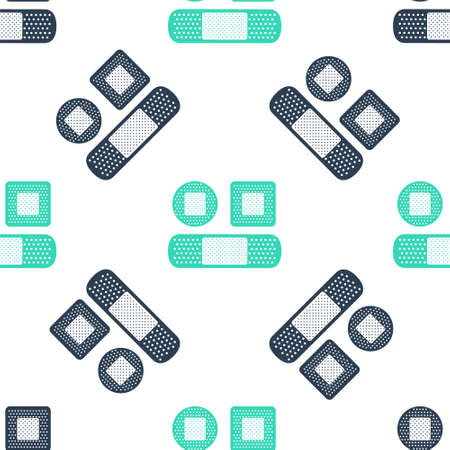 Green Set Bandage plaster icon isolated seamless pattern on white background. Medical plaster, adhesive bandage, flexible fabric bandage. Vector