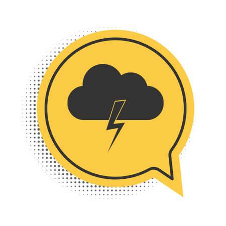 Black Storm icon isolated on white background. Cloud and lightning sign. Weather icon of storm. Yellow speech bubble symbol. Vector 向量圖像