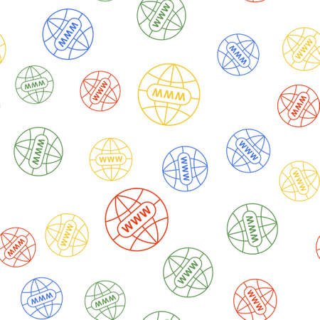 Color Go To Web icon isolated seamless pattern on white background. Www icon. Website pictogram. World wide web symbol. Internet symbol for your web site design, app. Vector