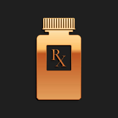 Gold Pill bottle with Rx sign and pills icon isolated on black background. Pharmacy design. Rx as a prescription symbol on drug medicine bottle. Long shadow style. Vector