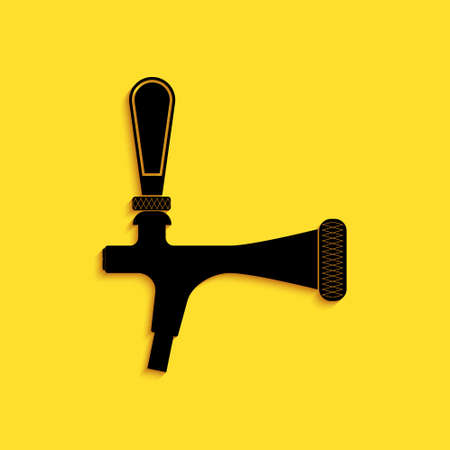 Black Beer tap icon isolated on yellow background. Long shadow style. Vector Vetores