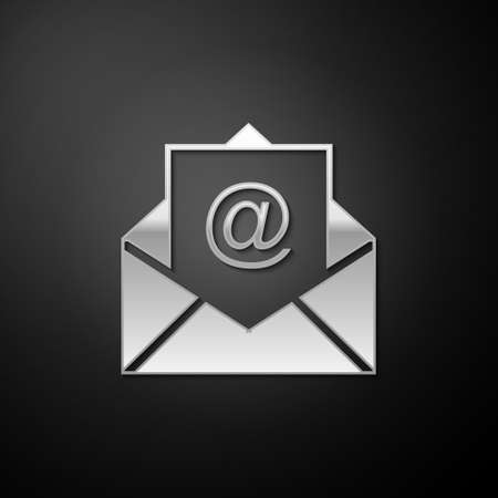 Silver Mail and e-mail icon isolated on black background. Envelope symbol e-mail. Email message sign. Long shadow style. Vector