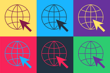 Pop art Go To Web icon isolated on color background. Globe and cursor. Website pictogram. World wide web symbol. Vector