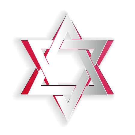 Paper cut Star of David icon isolated on white background. Jewish religion symbol. Paper art style. Vector