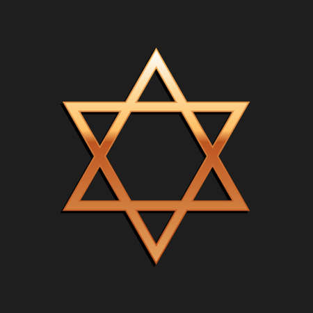 Gold Star of David icon isolated on black background. Jewish religion symbol. Long shadow style. Vector 向量圖像