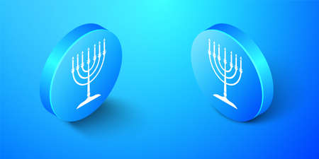 Isometric Hanukkah menorah icon isolated on blue background. Religion icon. Hanukkah traditional symbol. Holiday religion, jewish festival of Lights. Blue circle button. Vector 向量圖像